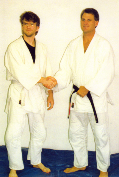 A separate photo of myself and Ken Gabrialson at the same July 1993 founding event. Ken was only the second American ever to earn a Black Belt in Brazilian Jiu-jitsu