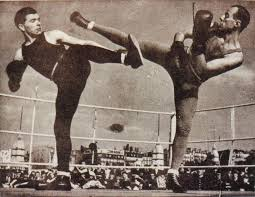 "A ""savate"" (or French Kick-boxing) match from the early 20th Century."